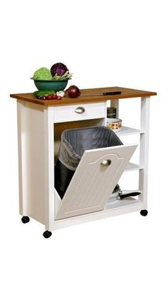 Butcher Block Kitchen Cart With Trash Bin : This ?rolling kitchen island features a beautiful butcher-block top, a place to store your ...