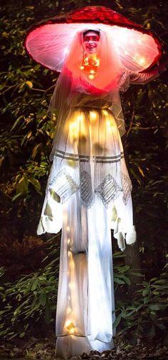 Amanita Muscaria illuminated tall mushroom photographed by Taylor Taz Johnson Mushroom Costume, Mushroom Hat, Cosplay Costumes, Halloween Costumes, Fairy Costumes, Dryad Costume, Stilt Costume, Winter Light Festival, Aerial Costume