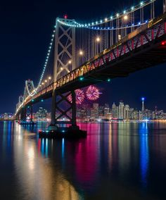 The Golden Gate Bridge lights up San Francisco - Happy New Year California
