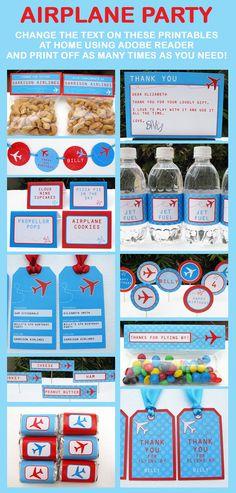Airplane Birthday Party Invitation & Printable by SIMONEmadeit