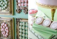 laduree wedding bar, framed macarons