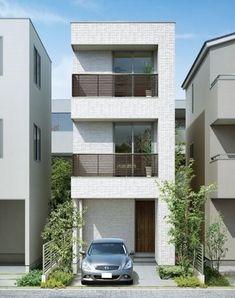 Simplify Your Life With Minimalist Décor Japanese Modern House, Small Modern Home, Modern Tiny House, House Front Design, Small House Design, Modern House Design, Narrow House Designs, Narrow Lot House Plans, Tiny House Exterior
