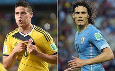 Colombia vs Uruguay, World Cup 2014: live James Rodriguez and Edinson Cavani face off