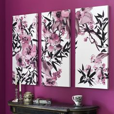 Kyoto Cherry Blossom Canvas Art - 3 piece set can be hung vertically or looks great horizontally too. Add jewels embellishments make this a unique Gem. -Not big on the wall color, but the pictures are pretty cool. Cherry Blossom Wallpaper, Cherry Blossom Painting, Cherry Blossoms, Framed Canvas Prints, Canvas Wall Art, Painted Canvas, Canvases, My New Room, My Room
