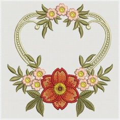 Floral Dreams Heart embroidery design