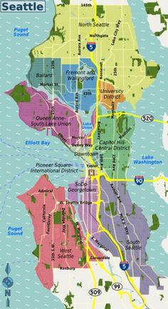 Seattle neighborhood map One of my favorites I love how it