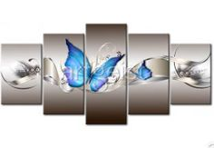 Blue Butterfly DIY Full Drill Diamond Painting Needlework Kit Home Decor Wall Canvas, Wall Art, Second Anniversary, Flower Wall Decor, 5d Diamond Painting, Blue Butterfly, Needlework, Arts And Crafts, Hand Painted