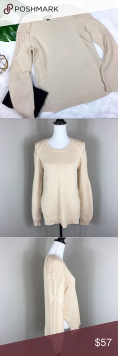 Sam Edelman Cream Crew Neck Sweater Sam Edelman Cream Crew neck sweater. Size large. Approximate measurements are 26' long, 25' sleeves, and 18' bust. Pre-owned condition with basic wear and no major flaws.  ❌I do not Trade 🙅🏻 Or model💲 Posh Transactions ONLY Sam Edelman Sweaters Crew & Scoop Necks