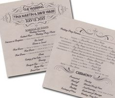 Ravishing Script Tri Fold Wedding Programs By ShineInvitations