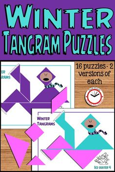 """These WINTER TANGRAMS are """"snow"""" much fun! Promote critical thinking, problem solving, spatial awareness, and geometric shapes with these fun puzzles. Fun Math, Math Games, Math Activities, Tangram Puzzles, Teaching Resources, Teaching Ideas, Thing 1, Problem Solving Skills, Creative Teaching"""