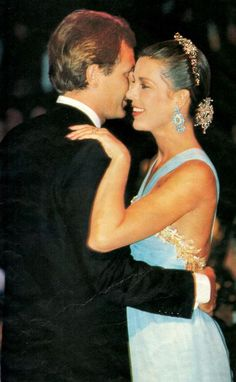 Monaco, August 1990. Red Cross Ball. Princess Caroline dancing with her husband Stefano Casiraghi (pictured his last official appareance).