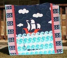 Ahoy Matey Baby Quilt Nautical Ship Sea Ocean Boy Crib Blanket