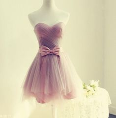 Dream State Homecoming Dress,Pink Short Prom Dress,Sweetheart Tulle Party Dress, Bowknot Waist Cute Dress For Teens
