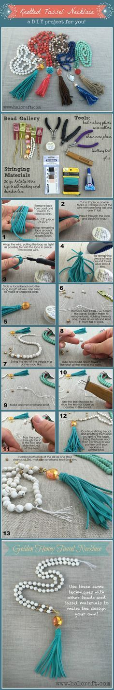 awesome DIY Bijoux - Monday Make : : Golden Honey Knotted Tassel Necklace - Halcraft USA
