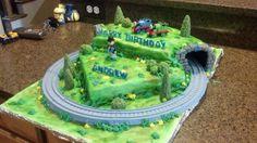 Train Birthday Cake with Moving Train