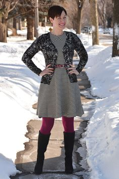 Already Pretty outfit featuring black and white patterned cardigan, striped Joe Fresh dress, magenta tights, magenta belt, ECCO Sculptured 65 boots