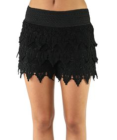 Love this Black Lace-Fringe Shorts by Elegant Apparel on #zulily! #zulilyfinds