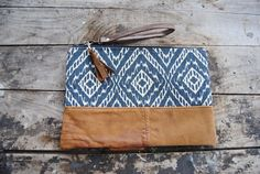 Navy Aztec Upcycled Brown Leather Clutch // by aperfectmessvintage