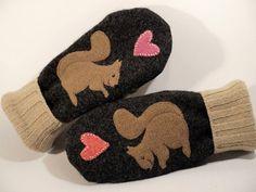 Wool Mittens Squirrel Appliqued Mittens Dark Grey by ForMyDarling