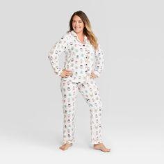 91e148f061 Women s Animal Print Holiday Festive Dogs Notch Collar Pajama Set -  Wondershop White S