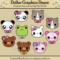 Kawaii Animal Faces - $1.00 : Dollar Graphics Depot, Your Dollar Graphic Store