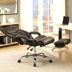 Shop Executive Adjustable Reclining Office Chair with Incremental Footrest - Overstock - 12222847 - Black Reclining Office Chair, Swivel Office Chair, Executive Office Chairs, Ergonomic Office Chair, Home Office Furniture, Home Office Decor, Home Decor, Office Ideas, Corner Furniture