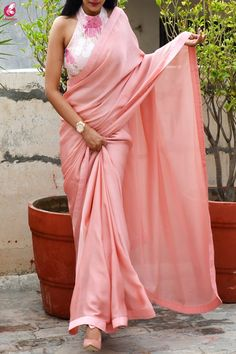 Buy Rose Pink Silk Georgette Dupion Silk Taping Saree Online in India Shiffon Saree, Dupion Silk Saree, Lace Saree, Satin Saree, Saree Dress, Sleevless Saree Blouse, Net Saree, Silk Dress, Online Shopping Websites