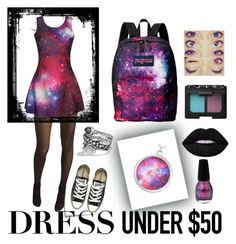 """""""Dresses Under $50; Out of This World"""" by choice-to-be ❤ liked on Polyvore featuring Post-It, Wolford, Converse, David Yurman, JanSport, Lime Crime, NARS Cosmetics and Dressunder50"""