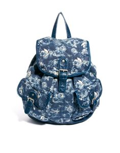New Look Blue Floral Backpack