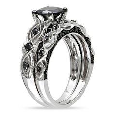 Miadora 10k White Gold 2 3/8ct TDW Black Diamond Bridal Ring Set   Overstock.com