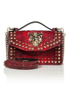 "PHILIPP PLEIN TOP HANDLE SMALL ""SHARPER"". #philippplein #bags #hand bags #polyester #lining #"