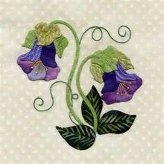 25 different wild flower quilt. blocks - Cup and saucer vine Applique Quilt Patterns, Hand Applique, Flower Applique, Applique Designs, Embroidery Applique, Applique Ideas, Embroidery Ideas, Small Quilts, Mini Quilts