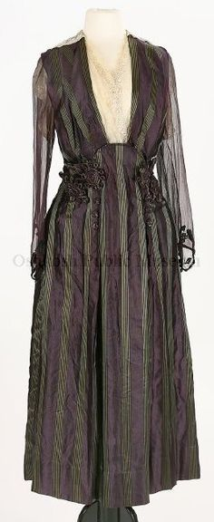 Dress: ca. 1912, American, striped silk, ornamental cord, lace, embroidery, silk covered buttons.