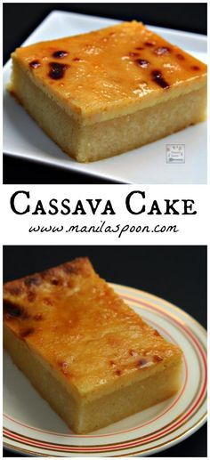 Cassava Cake with Creamy Custard Topping: With a soft and spongy texture, flavored with coconut and condensed milk and then topped with a creamy vanilla custard sauce - your taste buds will dance with joy with each bite of this favorite Filipino delicacy. Pinoy Dessert, Bon Dessert, Filipino Desserts, Asian Desserts, Just Desserts, Delicious Desserts, Filipino Food, Filipino Cassava Cake Recipe, Filipino Dishes