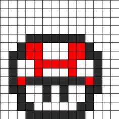 Small Square Perler Bead Mario Mushroom Perler Bead Pattern   Bead Sprites   Characters Fuse Bead Patterns