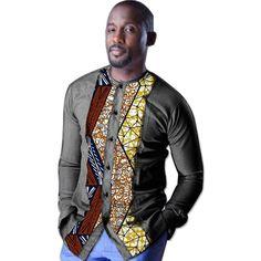 African print mens dashiki shirts custom african clothes Patchwork fashion shirts men long sleeve shirt of africa clothing Nigerian Men Fashion, African Men Fashion, Africa Fashion, Fashion Men, Dashiki Shirt, African Shirts For Men, African Clothes, African Attire, African Wear