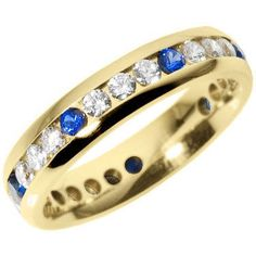 A wide full eternity ring set with sapphires and diamonds. The diamonds which are all of a grade are set centrally in a channel setting in groups of three in between a sapphire which just helps to accentuate the diamonds. Full Eternity Ring, Eternity Ring Diamond, Sapphire, Wedding Rings, Jewelry, Jewlery, Jewerly, Schmuck, Jewels