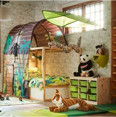 ikeausa Hey all you cool cats and kittens! We're really into this wildlife themed room for some reason. What are you binge watching this weekend? Boys Jungle Bedroom, Kids Bedroom, Jungle Room, Kids Beds With Storage, Bedroom Themes, Bedroom Ideas, Nursery Ideas, Kids Canopy, Ikea Kids