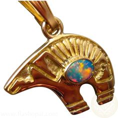 14k Yellow Gold Opal Gold Bear Pendant