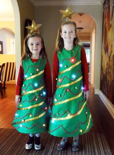christmas trees costumes but with a tutu as the bottom