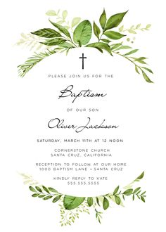 Baptism Ideas, Baptism Invitations, Boy, Girl, or Neutral! Christening Invites, Download and Print Today! xx