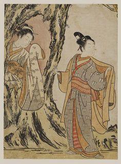 Parody of the Story of Yoritomo Hiding in a Tree  見立頼朝 (木の洞に隠れる娘) Japanese Edo period about 1767–68 (Meiwa 4–5) Artist Suzuki Harunobu (Japanese, 1725–1770)