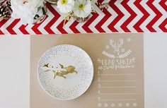 Santa wish list is also used as a place mat! Kraft paper + white ink looks perfect for the holidays!