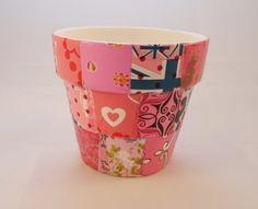 ceramic garden pots | ... in planters pots pink patchwork decoupaged ceramic plant pot reduced