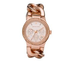 The chunky chain links on this Michael Kors rose gold-colored steel watch, $250, give it a fine jewelry feel. Mix it with chain bracelets done in other metals, like yellow gold and platinum.