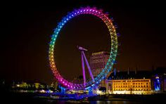 The London Eye all lit up at night <3