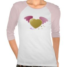 Gold Heart Pink Angel Wings Pink & White Raglan T-Shirt by #MoonDreamsMusic #RaglanTshirt #ValentinesDay #GoldHeart #PinkAngelWings