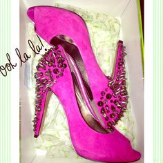 Lorissa Pink Suede Peep Toe Pumps  Spikes and dazzling jewels make these shoes edgy and perfect! Beautiful pink color. Only worn once and purchased at Bloomingdales for full retail price. These beauties are in like new condition and are sure to make your closet a happier place  Sam Edelman Shoes Heels
