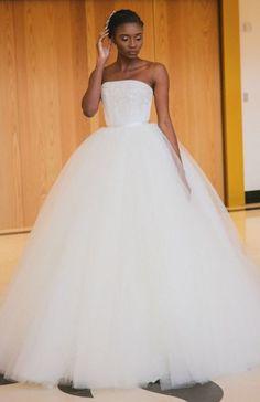 Classic strapless tulle ballgown wedding dress; Featured Dress: AloNuko