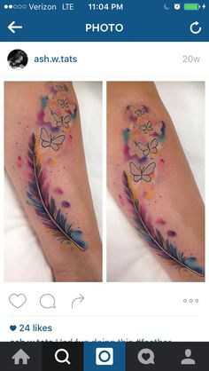 Watercolor feather turns to butterflies.